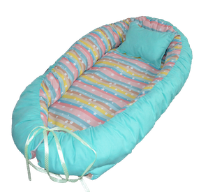 Protectie somn - Babynest, Babymat Handmade, model 75 cm x 40 cm, culoare albastru pal