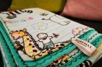 Paturica bebelusi, Babymat, finet animalute, bumbac verde, 75x95 cm