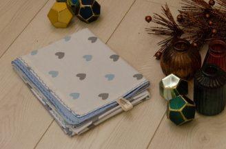 Paturica bebelusi, Babymat, bumbac dublu inimioare gri-albastre, 75x95 cm