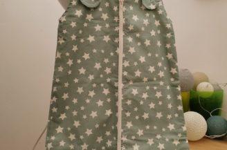 Saculet de dormit clasic (1 tog) pentru bebelusi, 0-6 luni, Babymat Handmade, model stelute, verde petrol